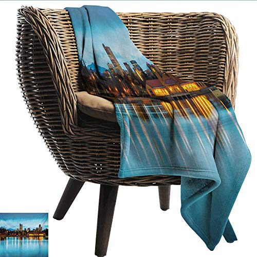 EwaskyOnline Urban Baby Blanket Downtown Denver Ferril Lake Colorado at The Morning City Park Capital Recliner Throw,Couch Throw, Couch wrap 72
