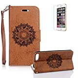 "For iPhone 7 Plus 5.5"" Case [with Free Screen Protector], Funyye Classic Premium Folio PU Leather Wallet Magnetic Flip Cover and [Credit Card Holder Slots] Mandala Flower Patterns Design Protective Case Cover for iPhone 7 Plus 5.5"" -Brown"