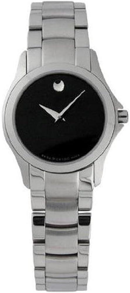 Movado Military Reloj de mujer cuarzo suizo correa de metal color plata 605870