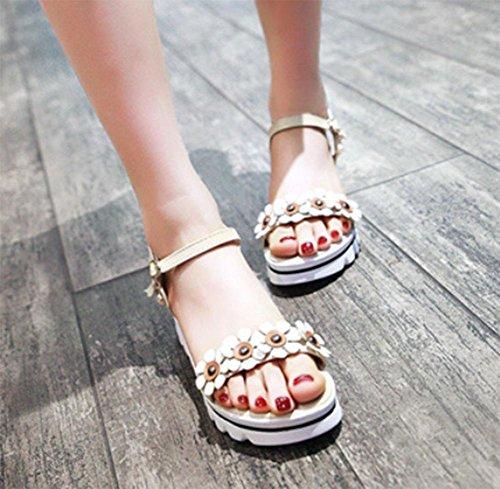 Femenino Verano De Estudiantes Sexo Con Palabras Pendiente Zapatillas Zapatos Los Sandalias Correa Beige Y La Z4xA0qww