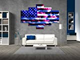 Extra Large American Flag Painting on Canvas Blue Sky Print Pictures Posters and Prints Framed Wooden Modern Wall Art for Living Room Bedroom Home Decor Gallery-wrapped Art 5 Panel Set(60''W x 40''H)