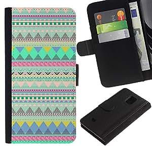 For Samsung Galaxy S5 Mini(Not S5), SM-G800 Case , Lines Pattern Native Indian Teal - la tarjeta de Crédito Slots PU Funda de cuero Monedero caso cubierta de piel