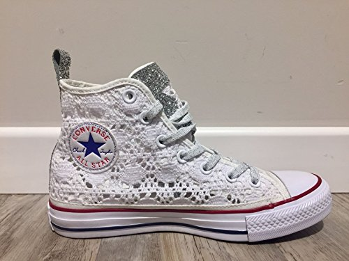 Star Glitter Edition Silver Crochet 38 Converse Limited Tex Hi All White 7wnz5A4xqH