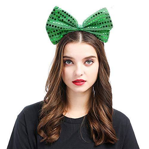 FuturePlusX Cinco De Mayo Green Bow Headband with Glitter Dot, Novelty Fancy Dress ()