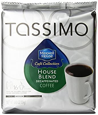 Maxwell House House Blend Decaf Coffee, Medium Roast, T-Discs for Tassimo Brewing Machines, 16 Count (Pack of 5)
