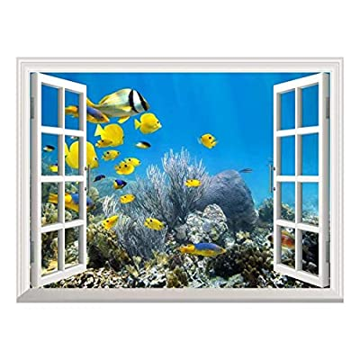 Removable Wall Sticker/Wall Mural - Underwater Coral Reef Scenery with Colorful School of Fish   Creative Window View Home Decor/Wall Decor - 36