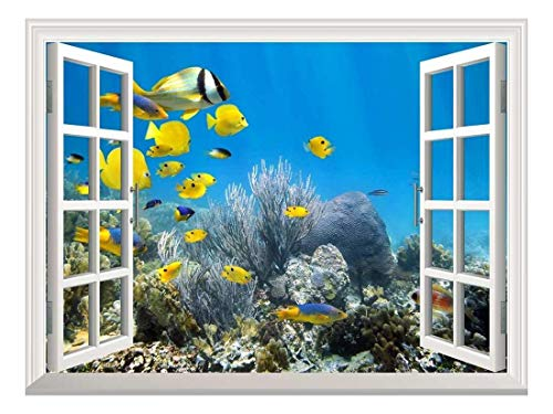 Removable Wall Sticker/Wall Mural - Underwater Coral Reef Scenery with Colorful School of Fish | Creative Window View Home Decor/Wall Decor - 36