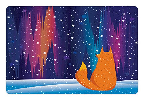 Lunarable Aurora Borealis Pet Mat for Food and Water, Colorful Sky in The Arctic Region with Cartoon Fox on a Snow Hill, Rectangle Non-Slip Rubber Mat for Dogs and Cats, Multicolor (Best Cabins On Aurora)