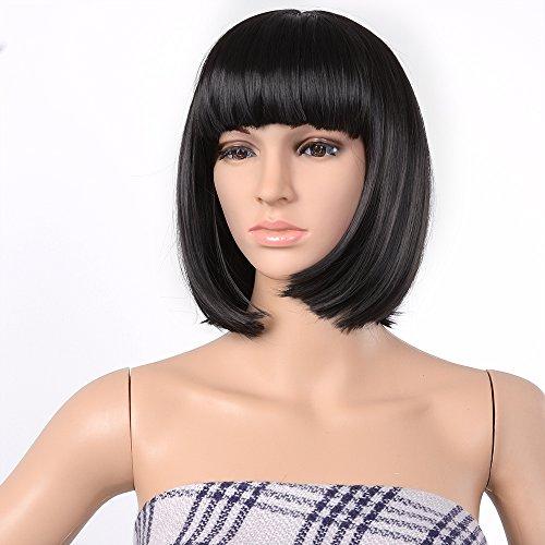 Agptek 13 Quot Straight Heat Resistant Short Bob Hair Wigs