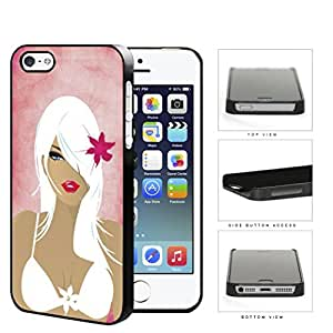 Pretty Girl With White Hair In Bathing Suit Hard Plastic Snap On Cell Phone Case Apple iPhone 5 5s