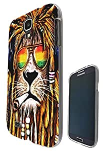 716 - Rasta Lion Weed Cannibas Hair Jamaican Design Samsung Galaxy S4 Mini Fashion Trend CASE Gel Rubber Silicone All Edges Protection Case Cover
