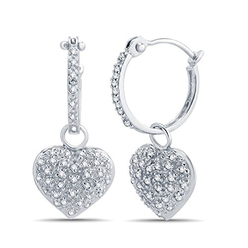 1/10 Cttw Diamond Heart Drop Earring in 10K White Gold