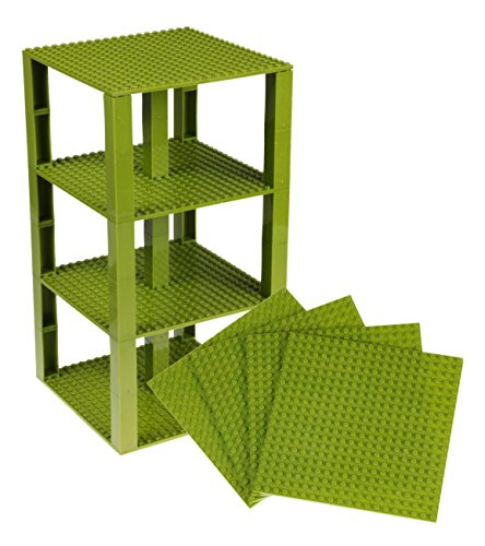 Strictly Briks Classic Baseplates 6 x 6 Brik Tower 100% Compatible with All Major Brands   Building Bricks for Towers and More   4 Jungle Green Stackable Base Plates & 30 Stackers