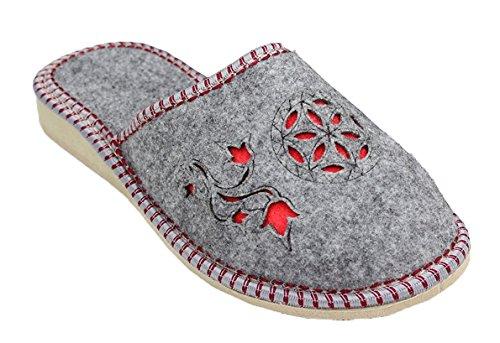 TupTam - Zapatillas de estar por casa de Fieltro para mujer Gris - Grau / Rot