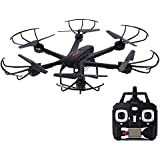 MJX X601H Drone FPV HD Camera RC Quadcopter WI-FI FPV Real Time Transmission APP/Transmitter Altitude Hold One Key Return Headless 3D Flip Helicopter RTF - Black