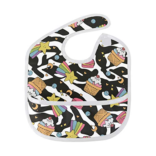 AHOMY Waterproof Baby Bibs Cake Rainbow Zebra Stain and Odor Resistant with Adjustable Snaps