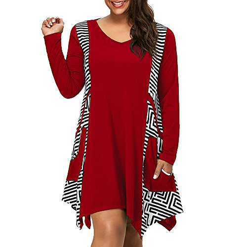 (iLUGU Urbanization Knee-Length Dress For Women Long Sleeve V-Neck Asymmetrical Hem Geometric Frills Pockets Plus Size)