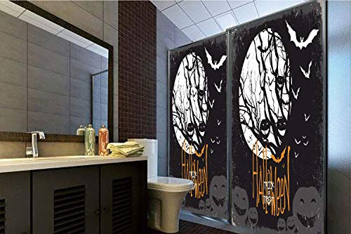 Horrisophie dodo 3D Privacy Window Film No Glue,Vintage Halloween,Halloween Themed Image with Full Moon and Jack o Lanterns on a Tree Decorative,Black White,70.86
