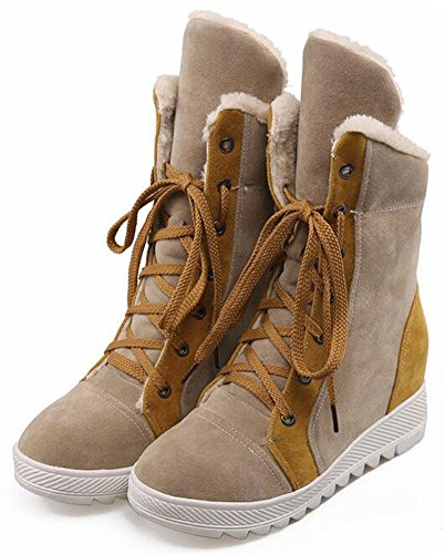 IDIFU Womens Warm Mid Wedge Heels Hidden Inside Faux Suede Lace Up Mid Calf Snow Boots With Fleece Camel YndOz