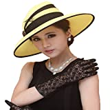Women Hat Wide Brim Big Flower Summer Dress Hat Chiffon Fabric Yellow