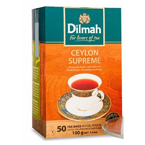Dilmah Ceylon Supreme Tea - 50 Tea Bags in Foil Pouch - Finest Pure Ceylon Black Tea Box -100g (3.53 oz)