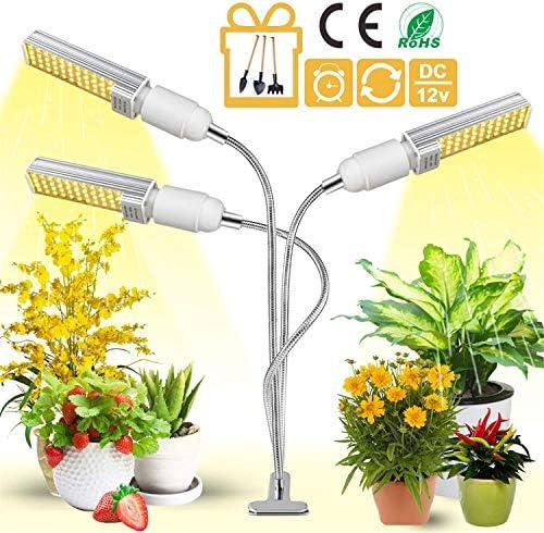 Plant Light for Indoor Plants, Garpsen 2020 Newest 12V 80W 156 LED Full Spectrum Gorw Light White Tri Head Gooseneck Grow Lamp with Auto ON Off Timer