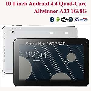 """ARBUYSHOP Nueva llegada 10.1 """"Tablet PC Quad Core Android 4.4 cuádruple núcleo de Allwinner A33 1GB de RAM 8 / 16GB ROM de doble cámara almohadilla Bluetooth WIFI HDMI, Añadir cubierta del teclado"""