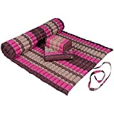 Kapok Dreams Yoga Futon Set: Kapok Mat (39x78x2)+ Block Cushion + seat Cushion. 100% Kapok. Burgundy & Pink