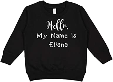 Mashed Clothing Hello Personalized Name Toddler//Kids Sporty T-Shirt My Name is Eliana