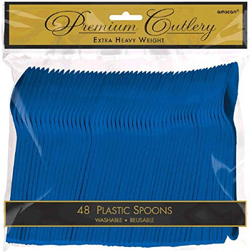 Light Blue Spoon - Amscan 8011.1049999999996 Premium Heavy Weight Plastic Spoons, 9 x 9.2, Bright Royal Blue