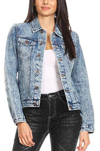 Vialumi Women's Regular Size Acid Wash Waist Length Distressed Denim Jacket Light L