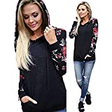 Kemilove 2018 Women Casual Stand Printed Long Sleeve Pocket Drawstring Pullover Top Blouse