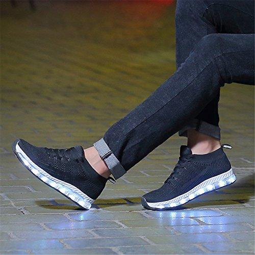 Chaussures des Sneaker Cool allument Fashion Flashing Femmes LED Hommes 053 Les pour Noir USB Rechargeable t7w7Ia