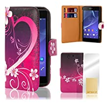 32nd® Designer book wallet PU leather case cover for Sony Xperia Z (L36h / L36i / C6603) + screen protector and cloth - Love Heart