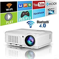 EUG LED Bluetooth Video Projector 3200 Lumens Wireless Android Home Theatre Projectors HD WXGA Resolution with Built-in Wifi/Speakers, HDMI, USB, VGA/TV/Audio Out Support 1080p Smart LCD Proyectors