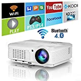 Wireless Bluetooth HD Projector 3200 Lumen Android 4.4 LCD Image System Home Theatre Projectors Support 1080p HDMI Airplay Screen Mirroring Multimedia LED Lamp 50,000hrs for Outdoor/Indoor Movie