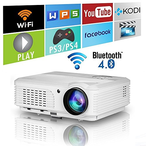 Wireless Bluetooth HD Projector 3200 Lumen Android 4.4 LCD Image System Home Theatre Projectors Support 1080p HDMI Airplay Screen Mirroring Multimedia LED Lamp 50,000hrs for Outdoor/Indoor Movie by EUG