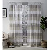 Exclusive Home Curtains Bern Stripe Sheer Window Curtain Panel Pair with Rod Pocket, 54x84, Natural, 2 Piece