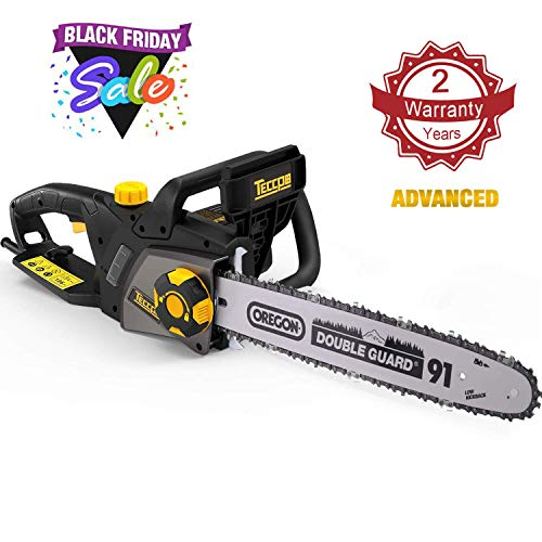 TECCPO Electric Chainsaw, 16-Inch 15 Amp Chain Saw with Automatic Oiler, Tool-Less Chain Tensioning, Mechanical Brake, Low Kickback, 49ft/s Chain Speed - TACS01G