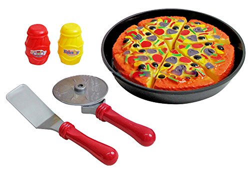 Liberty Imports Pizza Pie Party Slice and Serve Kitchen Pretend Play Food Cutting Toy Set for - All Purpose Hollow Server Handle