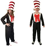 Cat In The Hat Style Suit With Oversized Stripey Hat Childs Fancy Dress Costume Age 3-4 Years