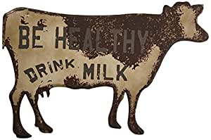 Creative Co-Op Be Healthy Drink Milk Metal Cow Wall Decor