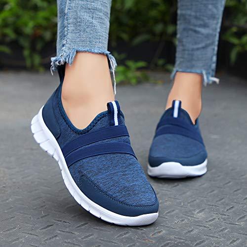 Athletic Slip Comfort Walking Light Shoes Casual Dark Sneakers On Women's Plus 7696 Size Blue ZYEN X8nRx5qwZZ