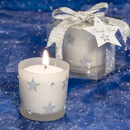 White Frosted Glass Candle Holder with Sparkling Silver Stars ()
