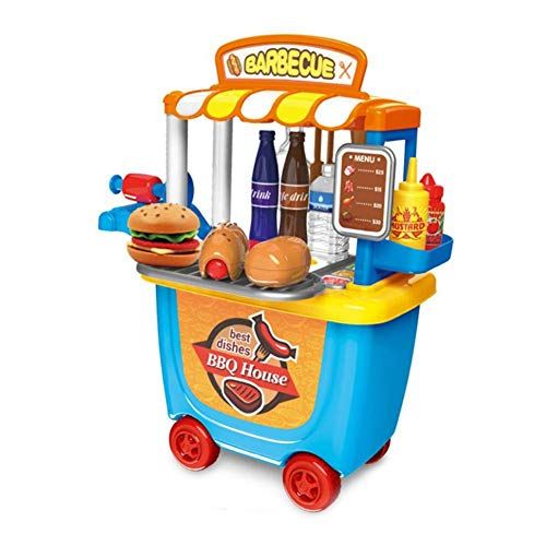 Per Small Supermarket Toy Trolley Car Barrel BBQ Trolley Ice Cream Car Fun Tool Cart Birthday Gift for Children Boys Girls