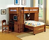 Harford II Dark Walnut Finish Twin over Twin Loft Bed with Built in Computer Desk and Chair with Front Access Ladder