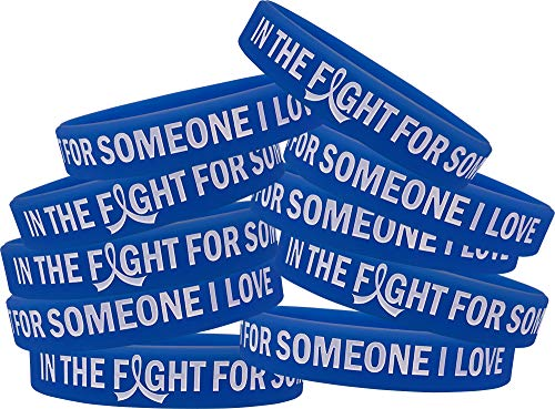in The Fight for Someone I Love Colon Cancer Huntington's AS Wristband Bracelet 10-Pack (Blue)