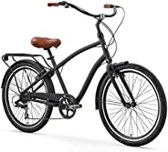 sixthreezero EVRYjourney Men's Step-Through Hybrid Alloy Beach Cruiser Bicycle (24-Inch, 26-Inch, and eB