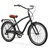 sixthreezero EVRYjourney Men's 7-Speed Hybrid Cruiser Bicycle, Matte Black w/Brown Seat/Grips, 26