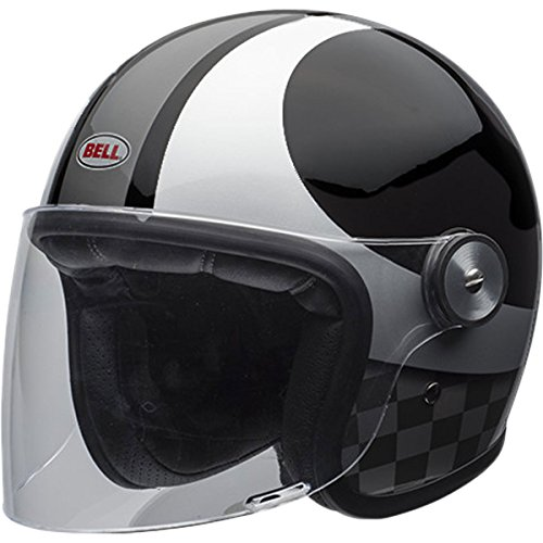 Bell LE Riot Checks Black/Silver Open Face Helmet, - Helmets Face Open Bell